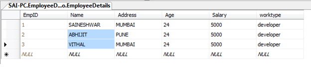 User details table with data in remote validations asp.net mvc application