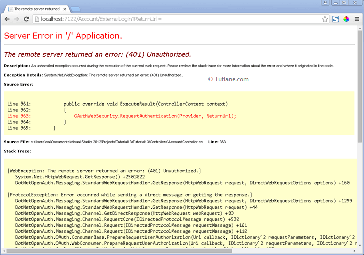 Get error while redirecting to twitter login page in asp.net mvc application