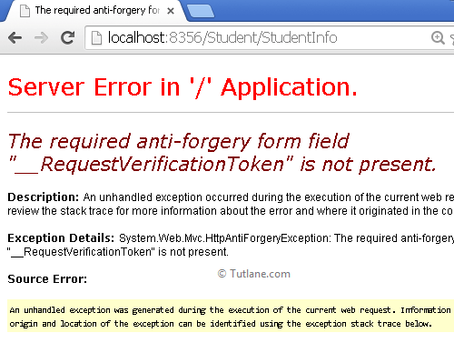 Error for cross site request forgery attack in asp.net mvc website
