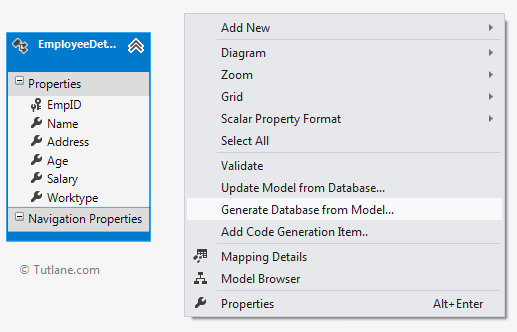 Generate database from model in model first entity framework approach in asp.net mvc
