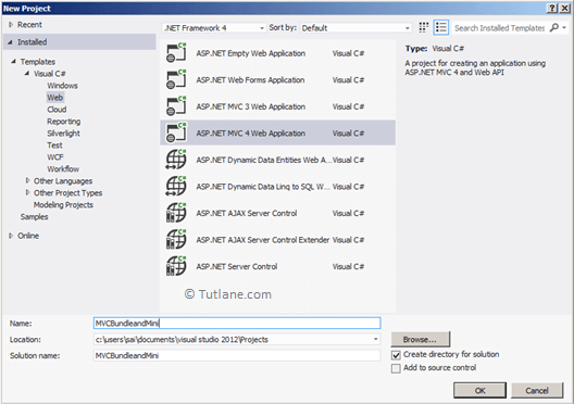 select asp.net mvc 4 web application from templates section