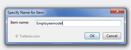 Giving Name to Ado.net model in mvc application