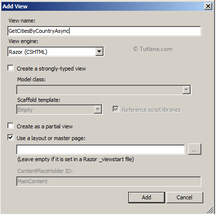 Adding new view to action method in controller in asp.net mvc