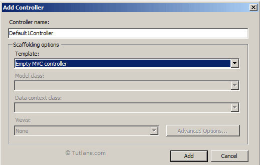 Give name to controller and select empty mvc controller template
