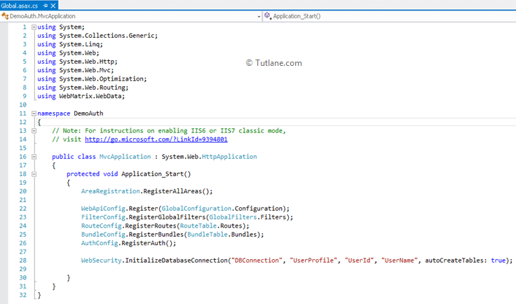 Global.asax file in asp.net mvc applicaiton with database conneciton