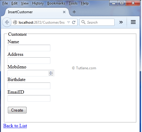 insert customer details page in asp.net mvc application