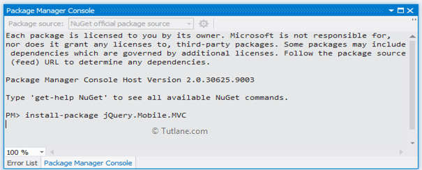 Installing jquery mobile mvc nuget package in asp.net mvc application