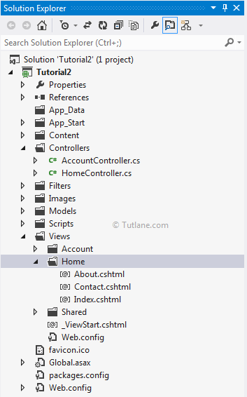 Internet Lication Template Folder Structure In Asp Mvc 4 Or Project