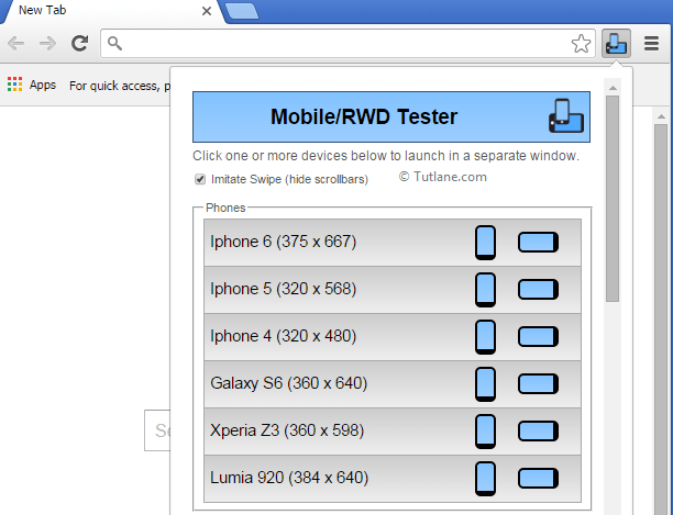 Complete Mobiles list in Google Chrome to test asp.net mvc mobile application
