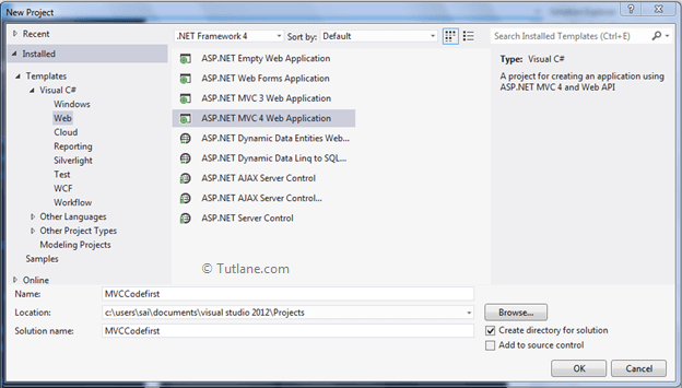 Create code first approach in entity framework in asp.net mvc application