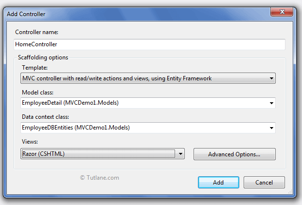 MVC controller with read/write action and views, using Entity framework