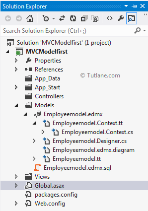 After generate database model in model first approach asp.net mvc application