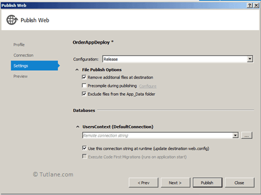 Select File Publish Options in Publish Web Dialog to Deploy Website