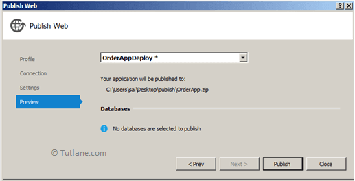Preview to publish website using web deploy package in visual studio