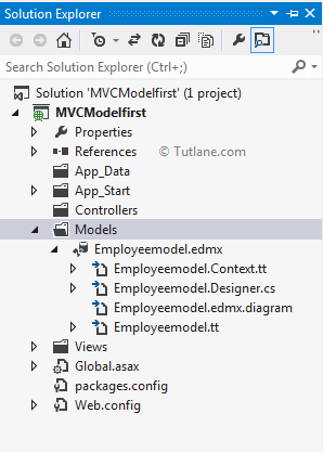 Model First Approach in entity framework asp.net mvc application structure