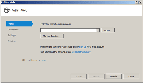 Publish web deploy dialog to deploy asp.net mvc web application