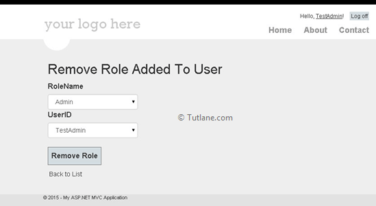 Remove role added to users in asp.net mvc membership provider