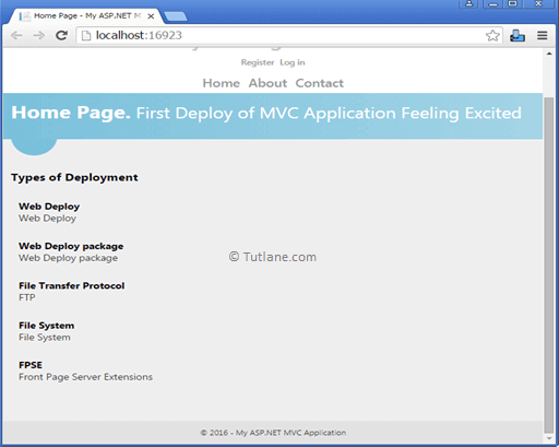 Asp.net mvc web deploy application output