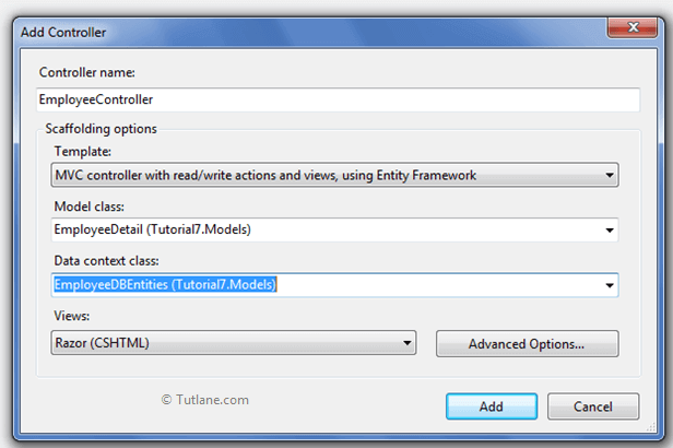 add controller in ado.net entity framework in asp.net mvc