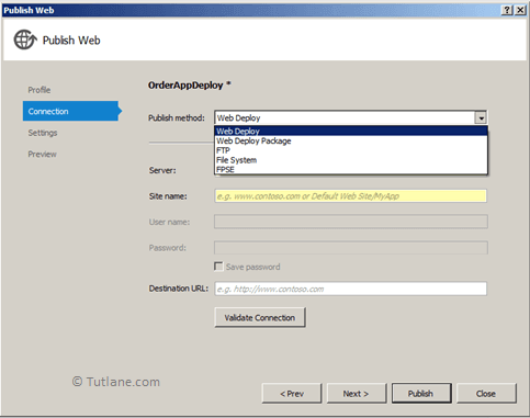 Select Web Deploy Options from Publish method in Visual Studio
