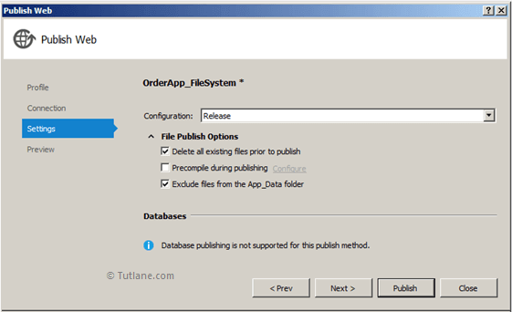 Select File Publish Options in File System to Deploy Website