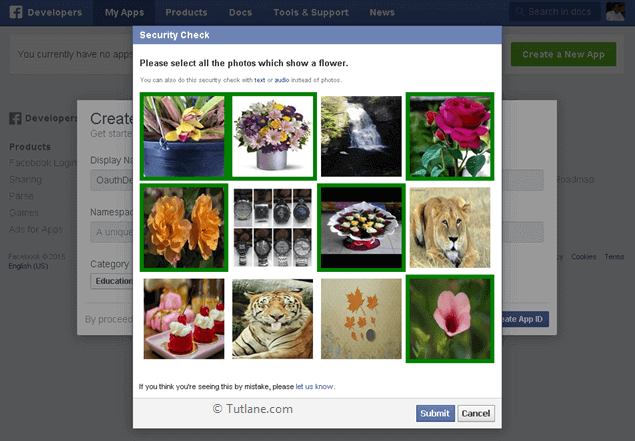 select security image to create new app in facebook