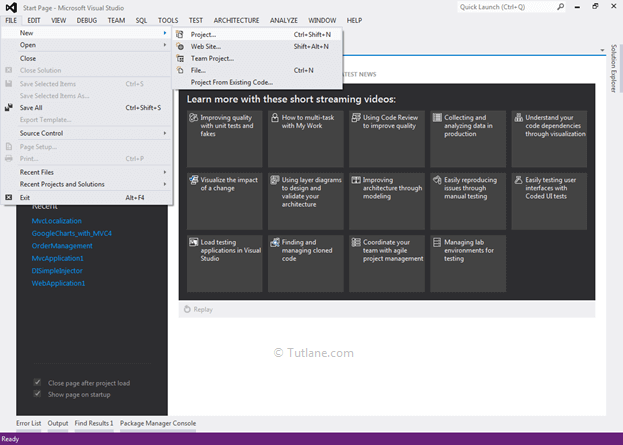 create new asp.net mvc project from visual studio 2012