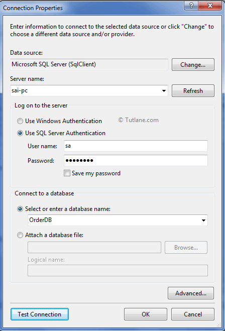 Create new database connection in model first approach in asp.net mvc