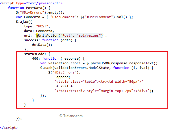 Displaying code snippet which display error by receiving response in asp.net mvc web api