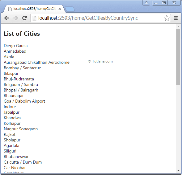 Showing list of cities in asp.net mvc using synchronous action method