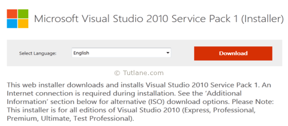 Microsoft Visual Studio 2010 Service Package installation