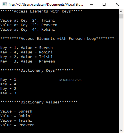 Visual Basic Access Dictionary Object Elements Example Result