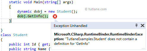 C# Assign Class Object to Dynamic Type Example Result