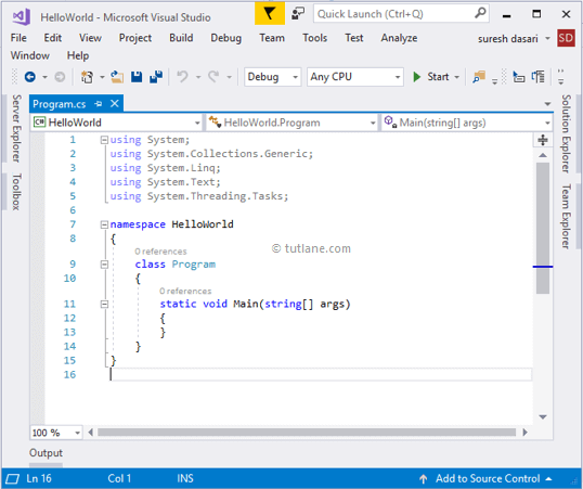 After Creating a C# Console Application using Visual Studio