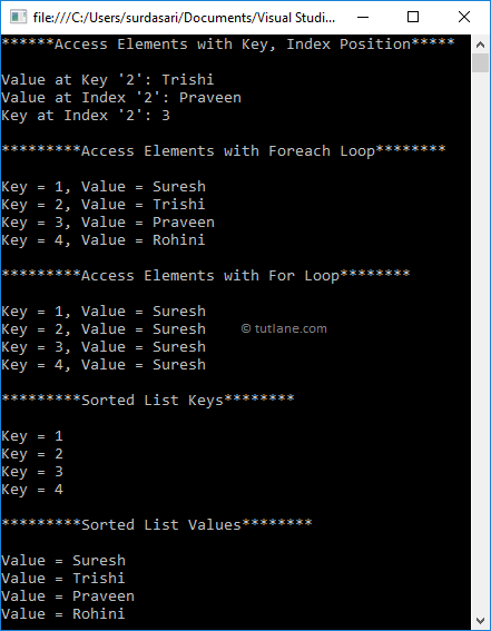 Visual Basic Access Sorted List Elements Example Result