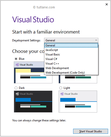 Start Visual Studio with Default options to Create C# Programs