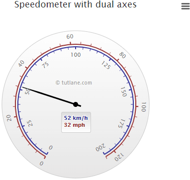 Highcharts Gauge Chart with Dual Axes Example Result
