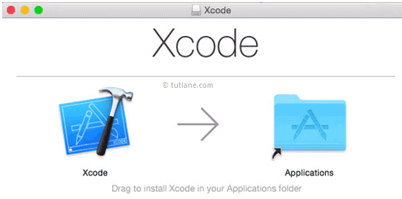 Drag xcode and drop into application folder to install