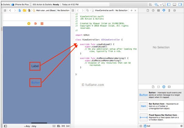 Map ios ui controls with viewcontroller.swift file in xcode editor