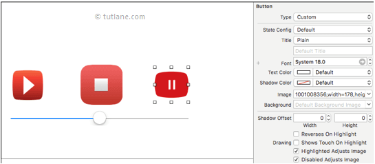 ios audio player map images to button controls and slider in xcode
