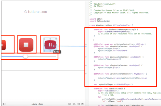 ios audio player app map controls to viewcontroller.swift file in xcode