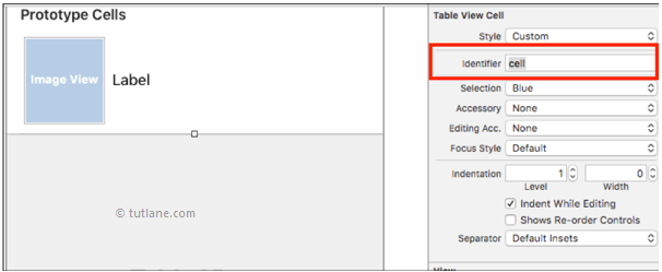 ios tableview with custom cell images change identifier name in xcode