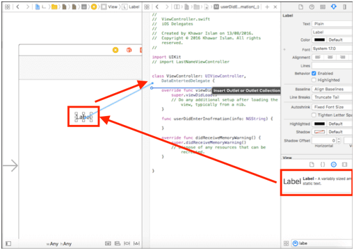 ios Add label control to viewcontroller and map control to code in xcode delegates application
