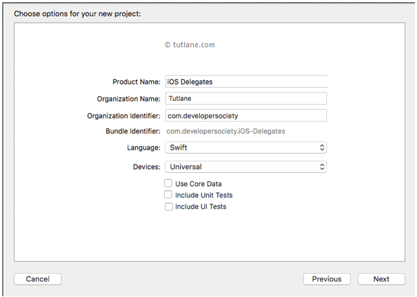 Enter Details to Create iOS Delegates Application in Xcode