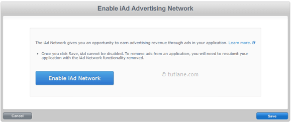 Register and enable iad network in apple iconnect