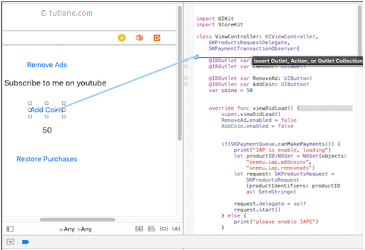 ios in-app purchase app map controls to viewcontroller.swift file in xcode