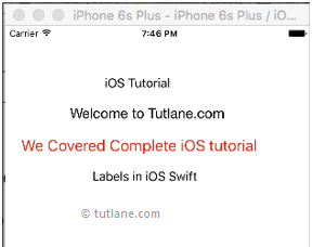iOS UI Label Control Application Example Result