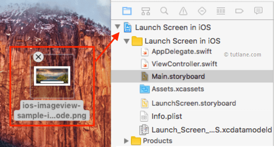 Add image to ios launch screen app project in xcode