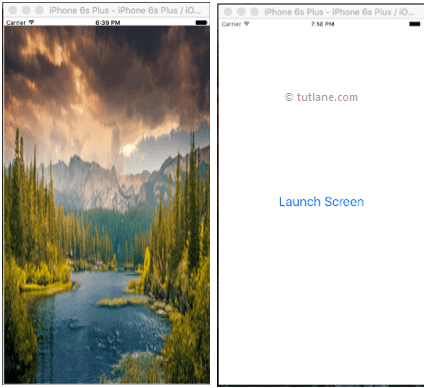 ios launch screen application example result or output