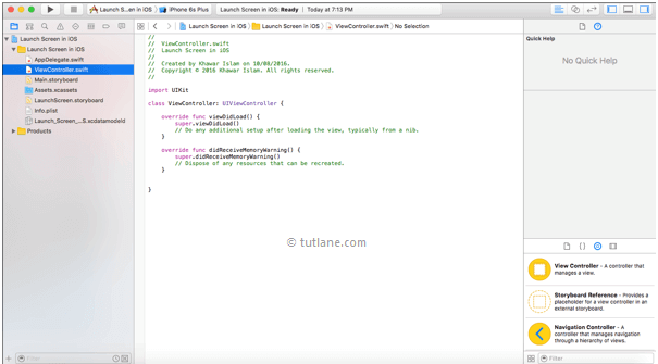 ios launch screen app viewcontroller.swift file in xcode